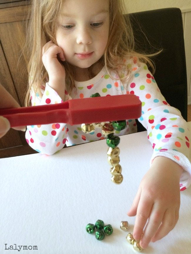 Jingle Bells and Magnet - 3 Fun Christmas Fine Motor Skills Activities featuring jingle bells on Lalymom.com