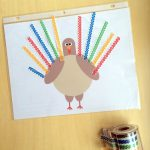 Kids Thanksgiving Craft- Printable Turkey Activity Placemats on Lalymom.com - pair with tons of crafts supplies and household items to keep kids busy while they wait for dinner!