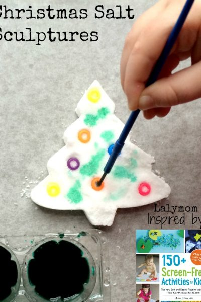 Christmas Activities for Kids – Salt Sculpture Trees – Review of 150+ Screen Free Activities for Kids