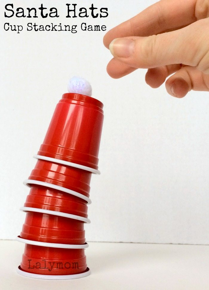 christmas games for kids santa hat cup stacking games