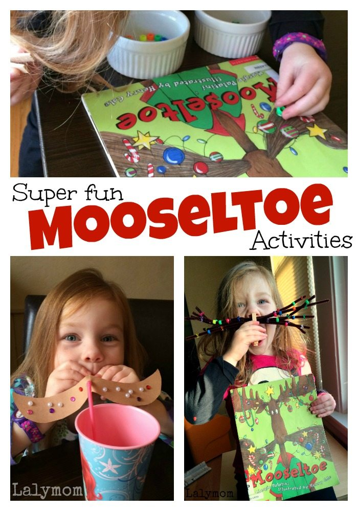Fun Mustache Activities for Kids to pair with the kids Christmas book Mooseltoe and the giant Moosestache on Lalymom.com