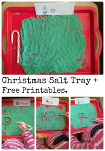 Fun Writing Activities- Christmas Salt Tray with Free Printable Seasonal Words Cards