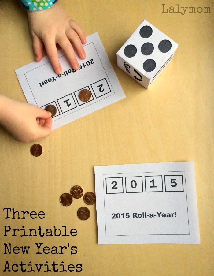 Printable Roll-a-Year New Year's Eve ideas for kids and other printable games on Lalymom.com