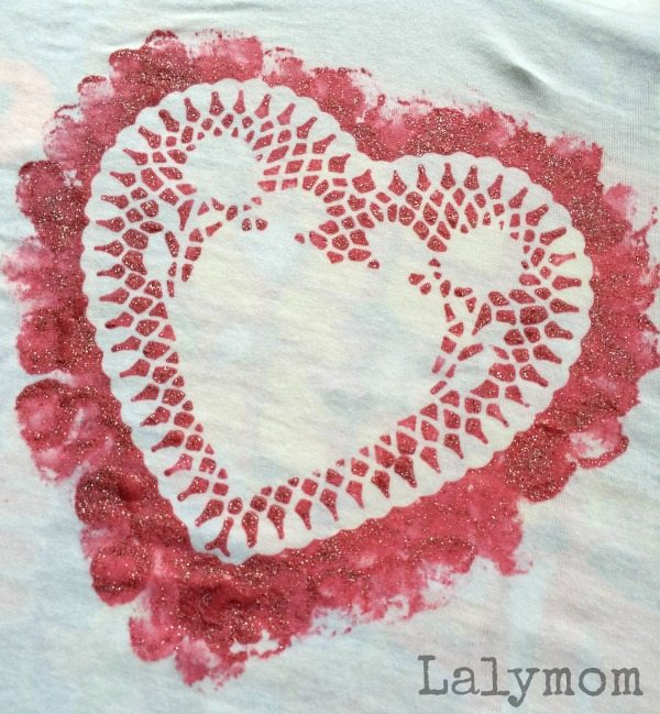 DIY Doily Valentine's Day T-Shirt - what a cool kid made shirt idea!