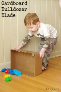 Cardboard Crafts- Easy Bulldozer Blade DIY Toy for kids