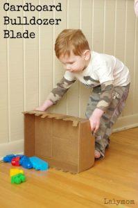Cardboard Crafts- Easy Bulldozer Blade DIY Toy for kids