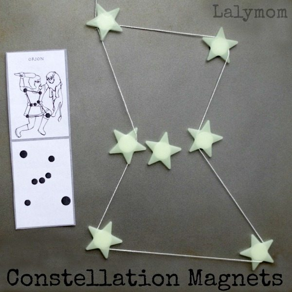 Constellations for kids - Use DIY STar magnets to connect the constellations