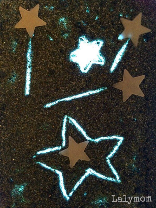 Glitter Stardust Writing Activities on the Light box