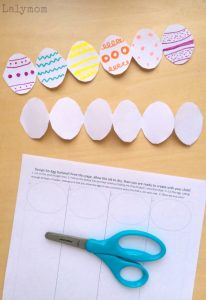 Easter Preschool Crafts - Free Printable Easter Egg Garland for Kids from Lalymom - Lots of fun fine motor skills used in this activity!