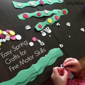 Easy Spring Crafts for Preschool - Make these into Garden Garland, Crowns or Bracelets - Lots of Fine motor Skills Practice - From Fine Motor Fridays