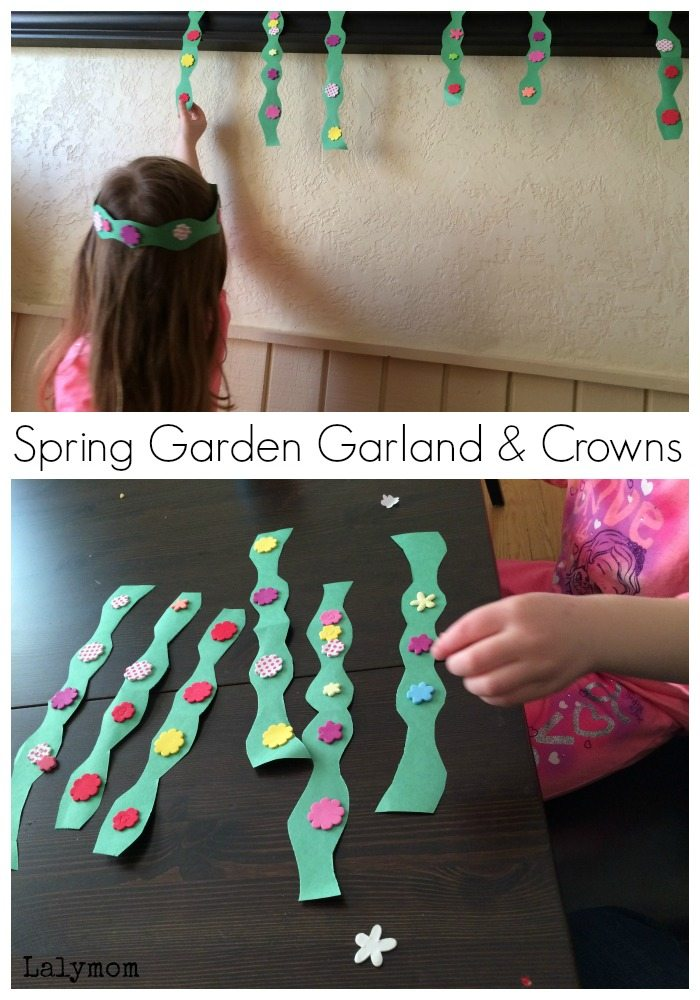 Spring Crafts for Preschoolers - Garden Garland - perfect for decorations, crowns and bracelets! From Fine Motor Fridays