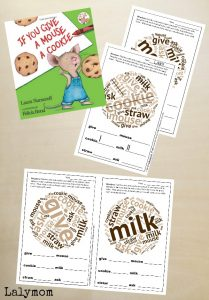 Free Printable Activities Inspired by Laura Numeroff Give a Mouse a Cookie Books. Part of Virtual Book Club for Kids!