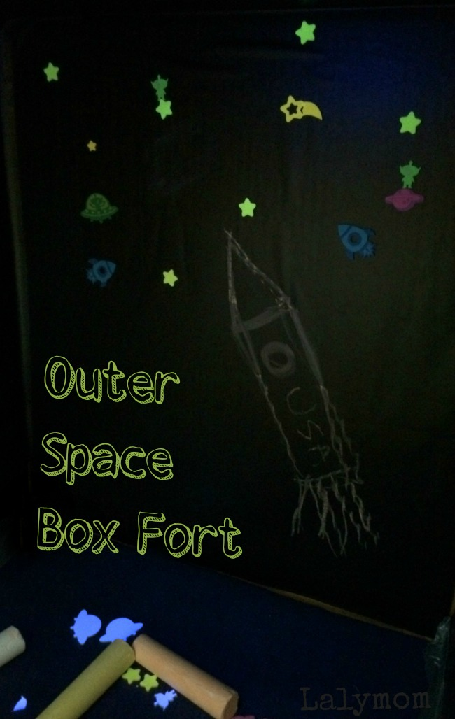 This outer space box fort is so cool!  My kids loved it! You can color on the vertical and horizontal surfaces.