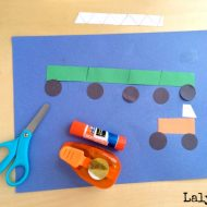 Easy Construction Paper Crafts for Kids - Cut Punch Paste Monster Trucks and Trains. Great kids craft that touches on several fine motor skills.