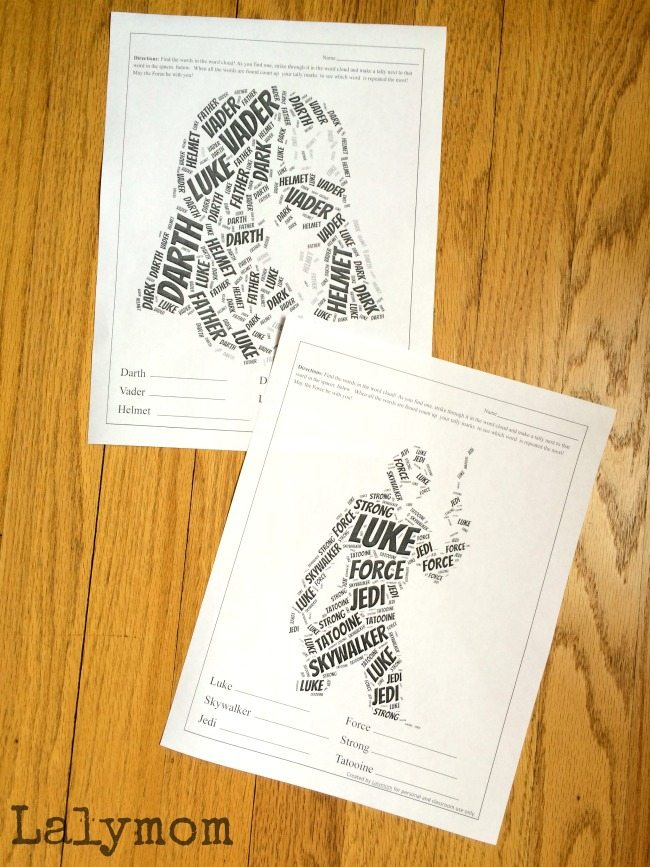 Printable Star Wars Activities Worksheets - What a fun word search using word clouds!