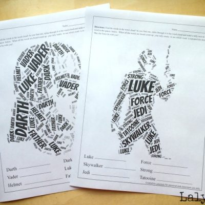 Star Wars Printable Word Cloud Worksheets for May the Fourth