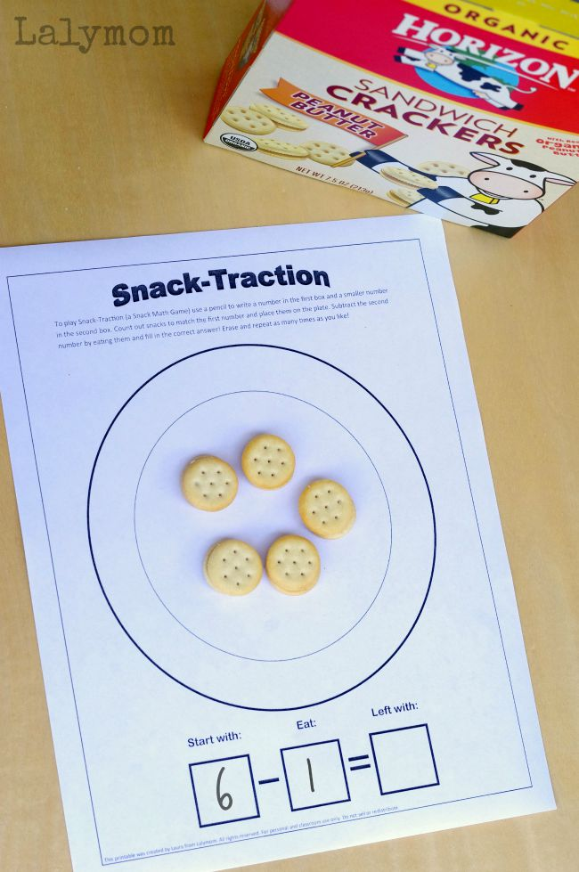 6 Page Free Printable Snack Games Pack - Snack Math, Snack Bingo and More! Fueled by Horizon Snacks