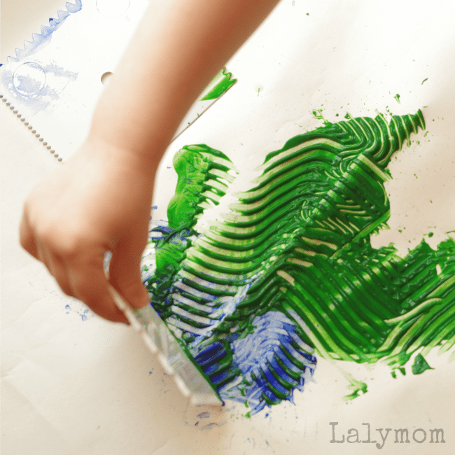 Hardware Store Art - Paint Combing - Part of the Process Art Challenge. Check out all the Process Art ideas for Kids Using this Month's Material Paint!