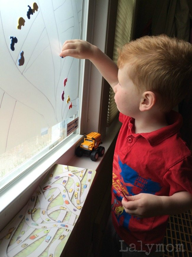 Transportation Sticky Window - 3 Book Activities for Kids - This Month's Virtual Book Club for Kids Author is Donald Crews. Check out all the ideas!
