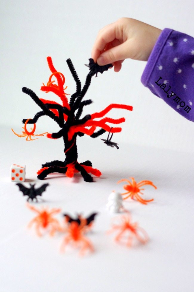 Math Topple Tree Game for Halloween - Kids will love this simple math activity. Low prep and adaptable for various ages.