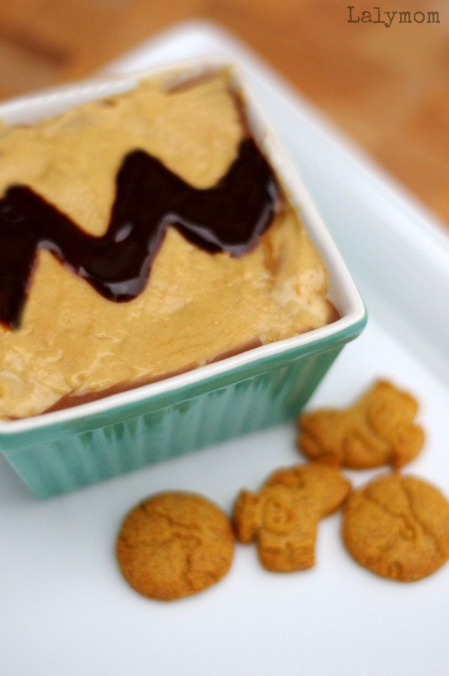 Chocolate Peanut Butter Dip - Charlie Brown Inspired Recipe - perfect for any Peanuts or Snoopy birthday party- or any day with your favorite peanut butter lover!