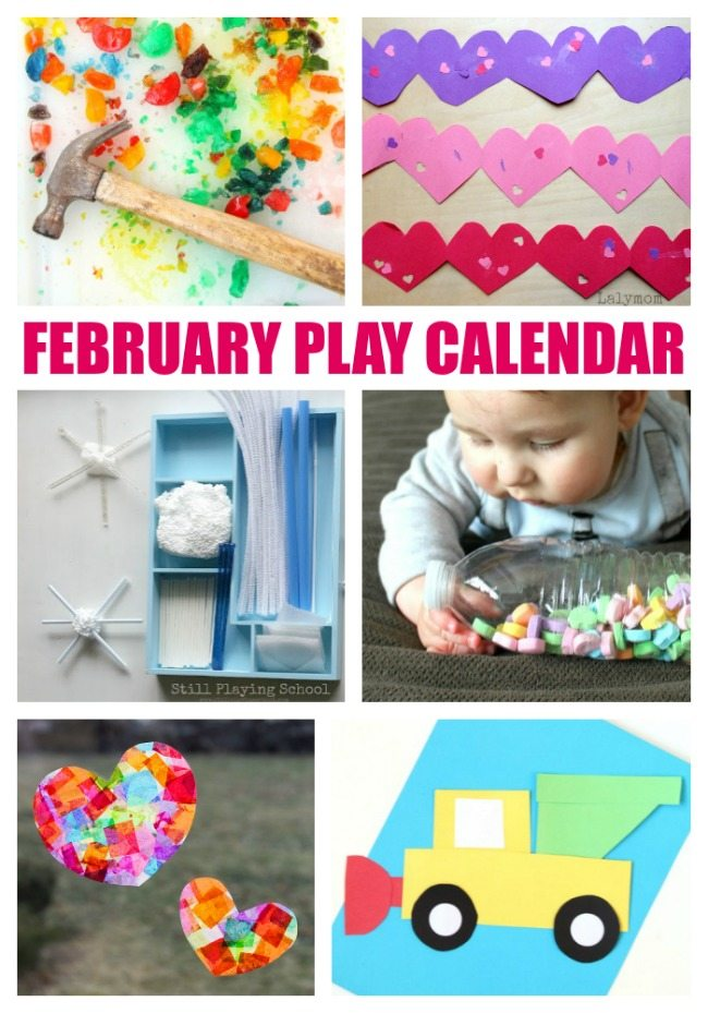 February Activities for Kids - Free Play Calendar with February Themed Crafts and Activities for Kids