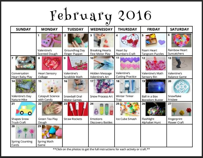 Calendar For Kids Activities : February activities for kids free monthly play calendar
