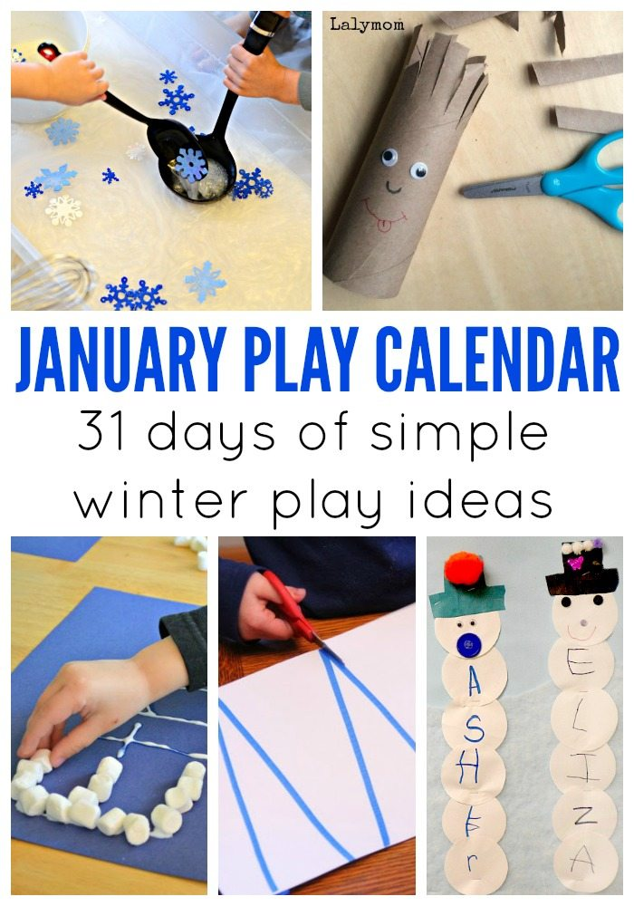 January Activities for Kids - Monthly Play Calendar - Simple winter themed play ideas from winter themed crafts, fun outside play and indoor boredom busters.