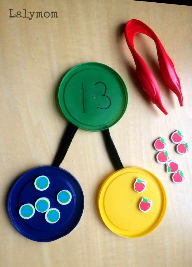 Mini Eraser Number Bonds - 10+ learning activities using mini erasers, including this super cool number bonds activity. Perfect for math centers using common core standards.