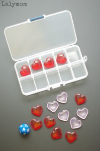 Valentine Math Activity - Use a simple portable ten frame kit for a fun valentine math game.