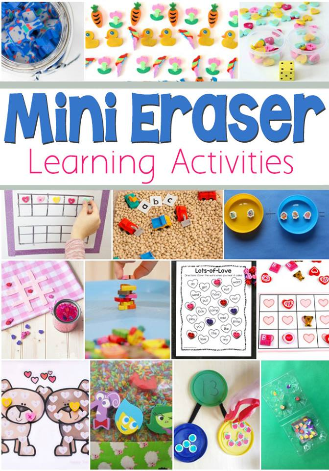 mini erasers learning activities for kindergarten, preschool, first grade and beyond.