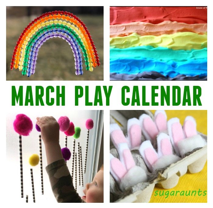 March Play Calendar - 31 Days of March Activities for Kids - Click, Print and Play!