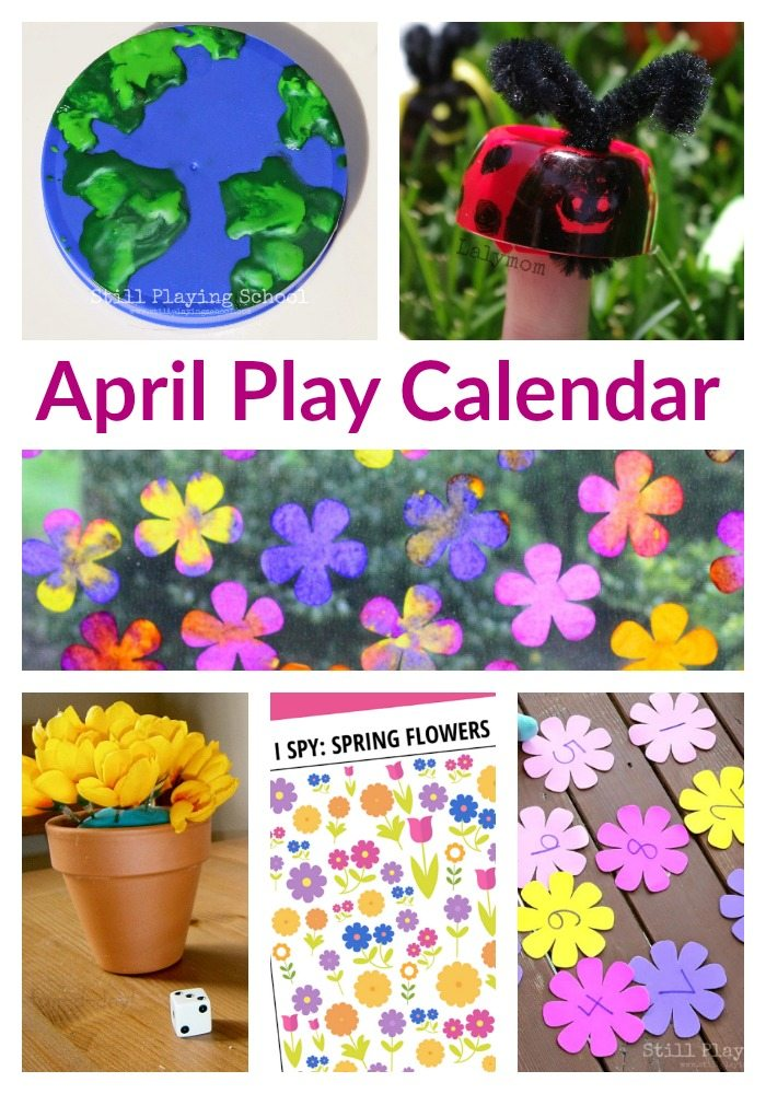 April Play Calendar for Kids - 30 Days of Aprils Activities including Earth Day, Gardening, Nature Themes and More!