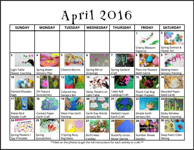 April Play Calendar on Lalymom - Lots of fun play ideas for Earth Day, gardening themes, nature, flowers, insects and more!
