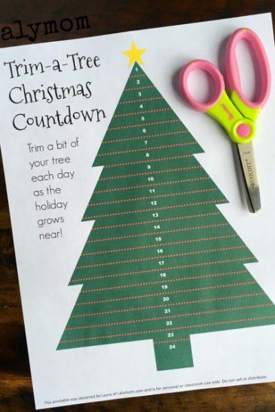 Trim A Tree Christmas Countdown for Kids – Free Printable