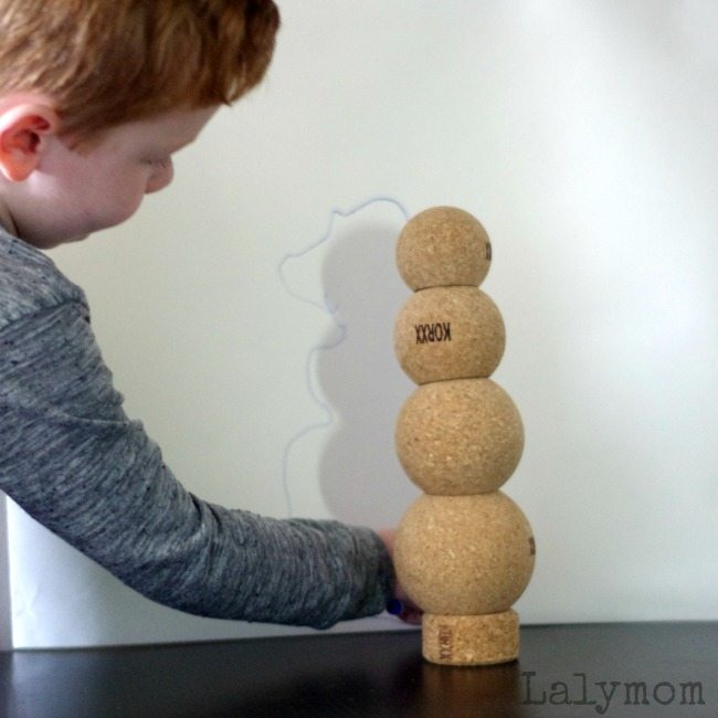 Shadow drawings using cork building blocks, #korxx are all natural, chemical free, sustainable, safe toys they're quiet too!