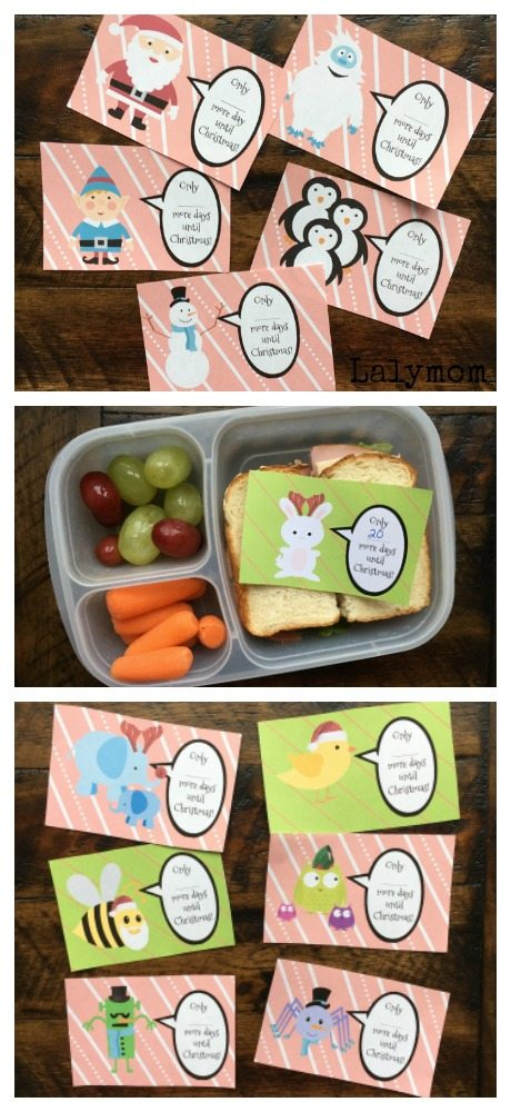 Printable Christmas Countdown Lunch Box Notes- These cute lunch notes are great as a surprise in school lunches. It's like a printable advent calendar! What a fun idea