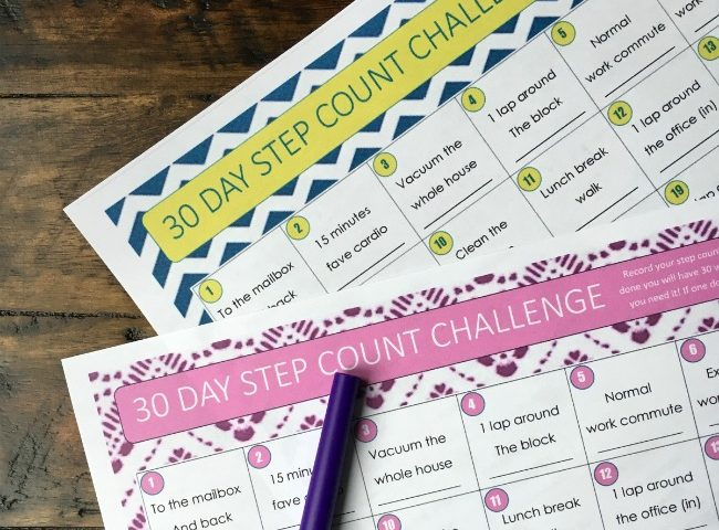 30 Day Step Challenge - for Fitbit, Jawbone or any step count tracker - free printable
