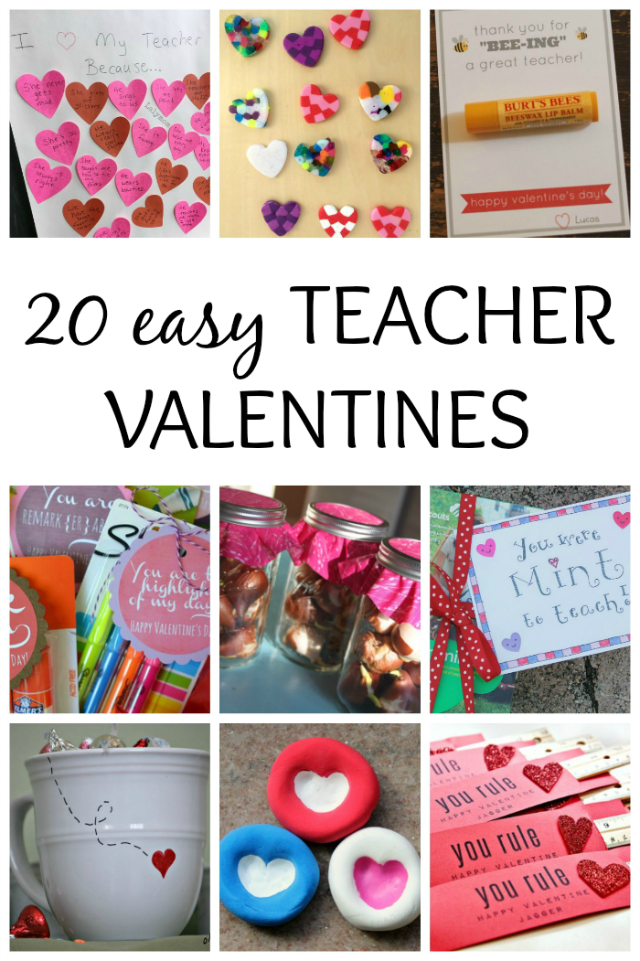 20 sweet and easy teacher valentines to make with the kids. They're perfect for last minute Valentine's Day gifts for the teachers in your kids' lives.