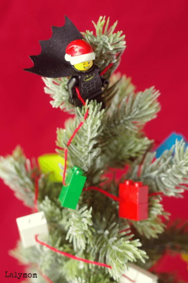 LEGO Batman Themed Mini Christmas Tree with LEGO Garland Tutorial what a fun ideas