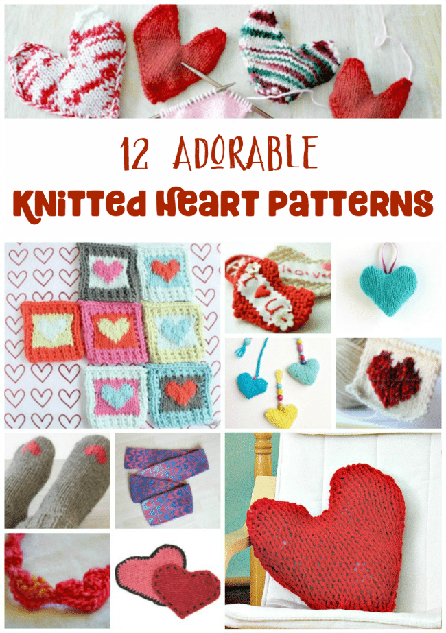12 Gorgeous Heart Knitting Patterns - Perfect for Valentine's Day or any gift giving holiday! #knitting #DIY #handmade #hearts #valentinesday