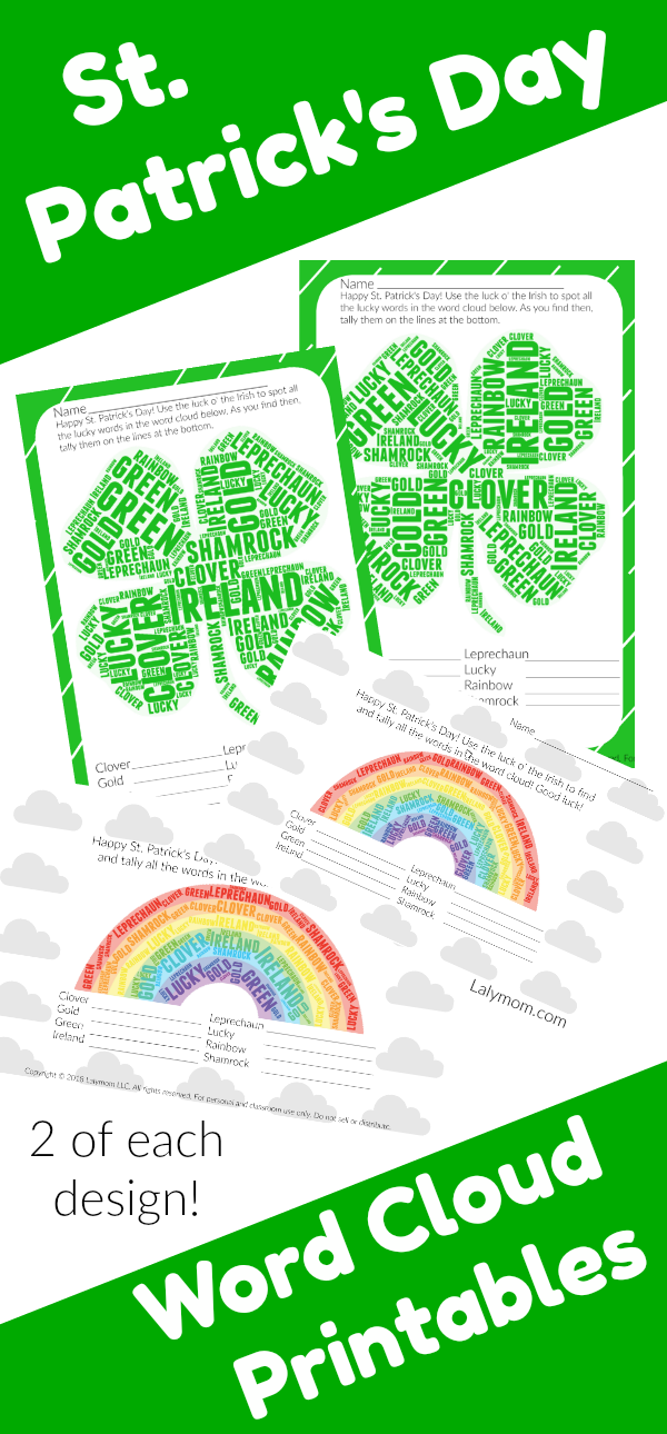 Printable St. Patrick\'s Day Worksheets - Word Cloud Activity for ...