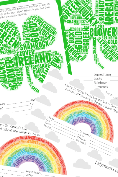 Printable St. Patrick's Day Worksheets – Word Cloud Activity for Kids