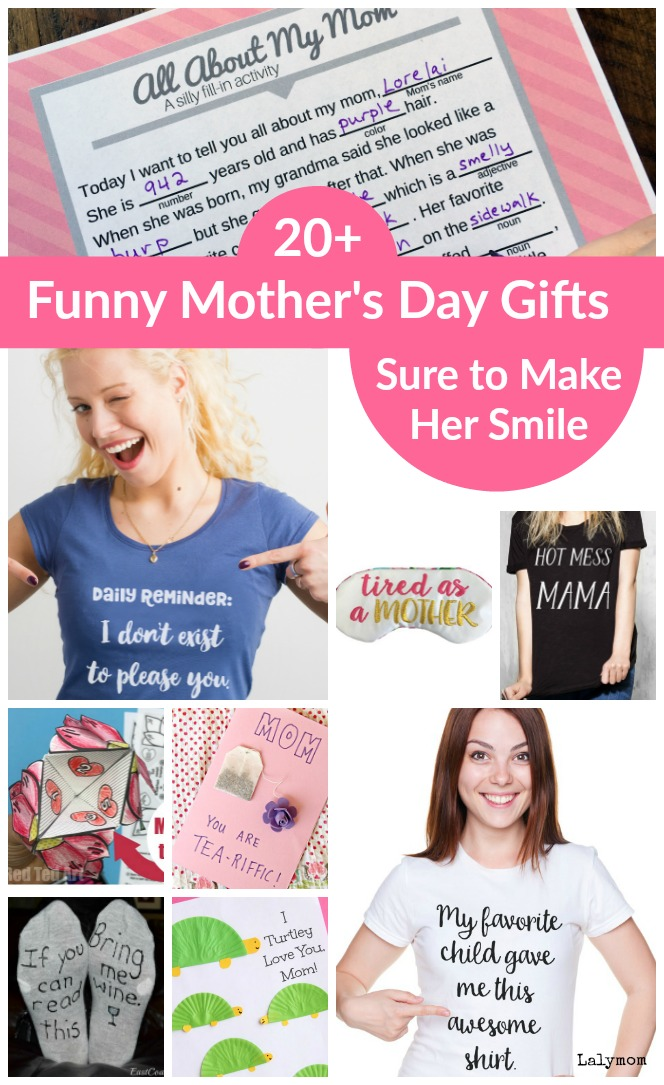 20+ Funny Mother's Day Gifts Sure to Make Her Smile - So many cute ideas! #MothersDay #Mom #Funny #Gifts #tshirts