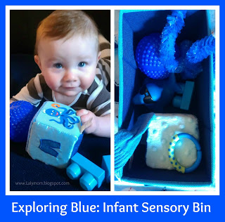 Exploring the Color Blue with an Infant Sensory Bin from Lalymom