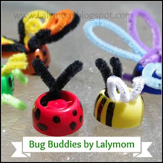 Spring Crafts for Kids- Upcycled Bug Finger Puppets from Lalymom