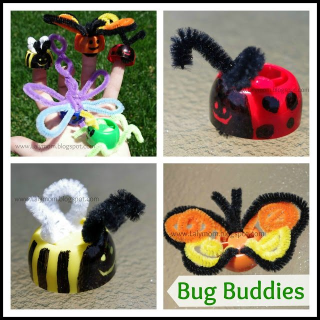 Spring Crafts for Kids DIY Pouch Cap Bug Finger Puppets from Lalymom