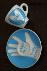 Father's Day Handprint Gift - Espresso Mugs Set - Would work for Coffee Mug Set too! Great personalized gift! Hands off Daddy's Coffee!