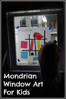 mondrian for kids window collage art project