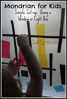 Mondrian for kids windor or light box collage